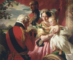 """The First of May 1851"" by Franz Xaver Winterhalter ... Queen Victoria holds her third son, Prince Arthur, as he is presented with a jewel casket by his godfather, Arthur, Duke of Wellington."