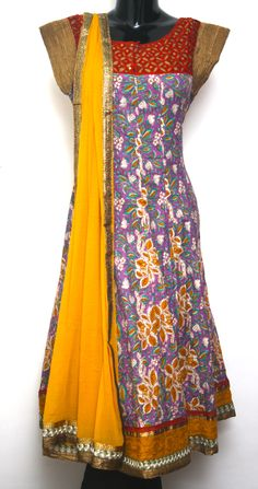 Printed Cotton Anarkali with cut work neck pattern Code 1765 - INR 2995/-