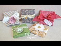 Treat box using the Stampin' Up Gift Box Punch Board ~ Video Tutorial Envelope Punch Board Projects, Envelope Box, 3d Paper Crafts, Theme Noel, Pillow Box, Craft Box, Card Tutorials, Gift Packaging, Craft Fairs