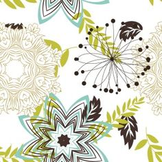 Teal And Lime Flower Pattern Mural | Murals Your Way