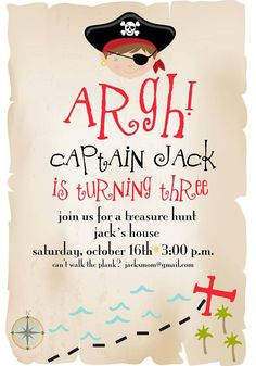 Pirate Birthday Invitation : Treasure Hunt Birthday Invitation by pisforpartypapers on etsy