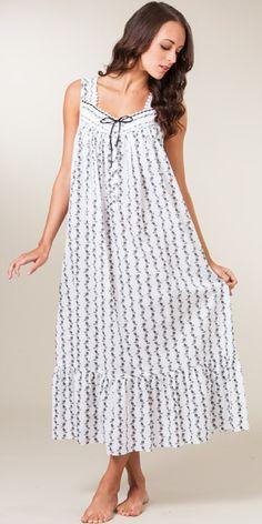 Eileen West Sleeveless Cotton Lawn Ballet Gown - White with Black Vine  Floral Santa Baby 05eebfda8