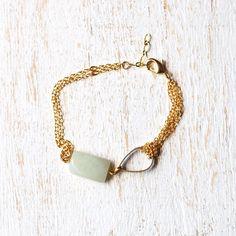 Mint Green Amazonite And Teardrop Bracelet by kellyssima on Etsy