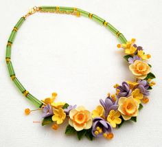 Narcissus - Floral necklace - Crocus - Spring jewelry - Handmade polymer flower necklace