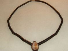 vintage native brown roll lipped shell beads w large conch shell necklaceii
