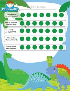 Potty Training Chart - free printable http://www.pottyscotty.com/Free-Chart-Dinosaurs.html