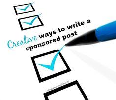 creative ways to write a sponsored post