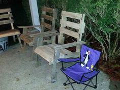 Patio Furniture we made from reclaimed paller wood.