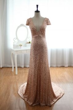 Champage Gold Sequins Wedding  Dress Prom  Dress  Evening Gown with Cap Sleeves
