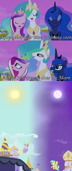 It's funny how much happier Luna is compared to the other two about the moon being up with the sun.