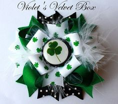 St Patricks Day Hair Bow Clover Hairbow Luck by VioletsVelvetBox, $7.99