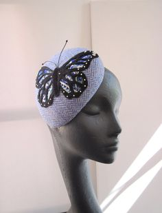Cocktail Hat Women Blue Harris Tweed Butterfly by MindYourBonce, £85.00