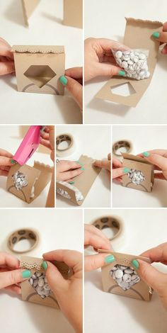 "Make these adorable DIY ""diamond candy pouch\"" favors! If you are looking for the perfect DIY candy favors for your engagement party, bridal shower or bachelorette - these \""diamond candy pouch\"" favors are it! Craft Wedding, Diy Wedding Favors, Wedding Gifts, Cheap Party Favors, Wedding Ring, Crafts For Teens, Diy And Crafts, Paper Crafts, Diy Paper"