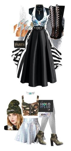 """""""Holographic"""" by patick ❤ liked on Polyvore featuring Clé de Peau Beauté, Chicwish, WithChic, B-Low the Belt, Mary Frances Accessories, Ettika, Flying Coffin, Wolford, Charlotte Russe and WearAll"""