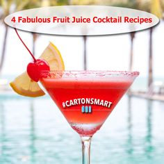 4 Fabulous Fruit Juice Cocktail Recipes using juices that come in smart cartons. Tart Cherry Cosmo, Coco Pango, Azul Limonada, and the Frozen Screwdriver! #CartonSmart