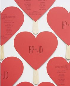 Heart Program---DIY Instructions and Template | Free printable for ceremony program.