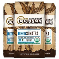 Organic Sumatra Water Decaf Coffee Fair Trade Mountain Water Processed 12 oz Whole Bean Bags Fresh Roasted Coffee LLC 3 Pack * This is an Amazon Associate's Pin. Click the image to visit the Amazon website.