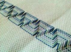 Huckweave or Swedish Weaving. Swedish Embroidery, Beaded Embroidery, Cross Stitch Embroidery, Embroidery Patterns, Hand Embroidery, Geometric Embroidery, Swedish Weaving Patterns, Monks Cloth, Brazilian Embroidery
