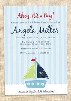 Sailboat Baby shower invitations  set of  12 by polkaprints, $15.00