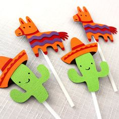 12 x Mexican Fiesta Cupcake Toppers Donkey by MyPinwheelParty