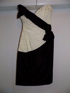 Vintage Tadashi designer 6 S 80's black white taffeta strapless dress wiggle…
