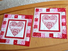 QULTED TABLE RUNNERS Set of two [2] for Valentine's Day, Sweetest Day, Anniversaries, Weddings, Showers, etc. - pinned by pin4etsy.com