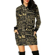 Featuring a soft fabric and an oversized fit, this hoodie dress can match with thigh boots for a modern look that is perfect for many occasions. •195g/㎡. Made from 100% polyester. •Oversized silhouette with a hood, deep pockets and long sleeves. •Double-needle hemmed sleeves and bottom. •Machine wash cold. Availab