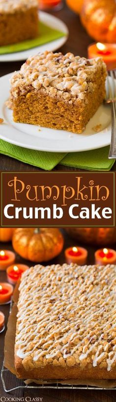 This cake is so tender and moist and it& loaded with cinnamon crumbs! It also has the perfect amount of pumpkin flavor. Holiday Desserts, Just Desserts, Delicious Desserts, Dessert Recipes, Dinner Recipes, Pumpkin Recipes, Fall Recipes, Sweet Recipes, Pumpkin Coffee Cakes