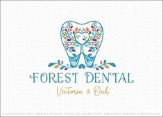 Logo for sale by Melanie D - Logomood.com Natural, whimsical dental themed logo design with a stylized flowing leafy tree growing with in the center of a molar tooth. The branches of the tree curve in the middle of the tooth and tree to create a heart shape formation. A vine of leaves frame the bottom of the tooth and molar design.