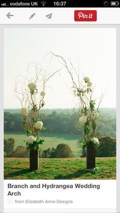 Instead of an arch, twig arch weaved with the theme of wedding flowers greenery