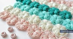 @ MyPicot - Free crochet pattern - Flower Puff Stitch