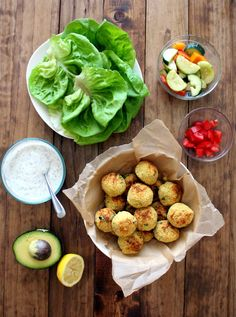 Wrap savory homemade falafel in lettuce wraps for a low- calorie meal with 9g of fiber! #vegetarian