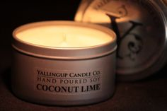 COCONUT LIME Large Soy Travel Tin Candle by YallingupCandleCo, $16.95