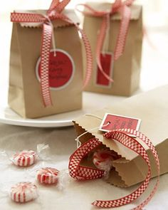 brown paper bag and ribbon packaging. I like the hang tag too...