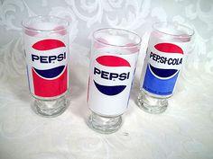 $24.99 SET OF 3 VINTAGE RETRO PEPSI-COLA PEDESTAL GLASSES TRIPLE LOGO 12 OZ.