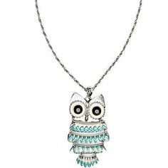 Silver tone owl pendant long necklace - necklaces - jewellery - women