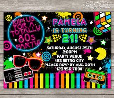 PRINTABLE TOTALLY 80s Retro Birthday Invite - Personalized - Digital Invitation 4x6 or 5x7 jpg or pdf