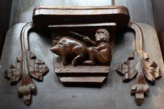 Man & pig misericord, Great Malvern Priory by Bob Embleton, via Geograph