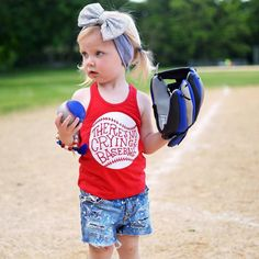 There's No Crying in Baseball! // This design is available on 12 various tanks & tees for infants to adults. Sparkle Sequin headbands available in 25+ colors!