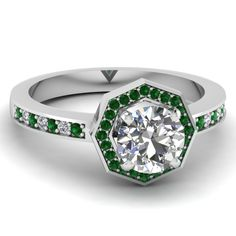round cut diamond engagement ring with green emerald in 14K white gold FDENS3205RORGEMGR NL WG