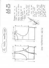 Sports bra pattern in several sizes. The site is in Brazilian Portuguese