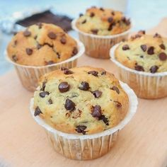 Muffins aux pépites de chocolat sans oeufs, sans lait {vegan Chocolate Chip Muffins without eggs, without milk {vegan} Strawberry Muffins, Blue Berry Muffins, Lait Vegan, Gateaux Vegan, Cinnamon Muffins, Carrot Muffins, Oatmeal Muffins, Breakfast Muffins, Vegan Granola