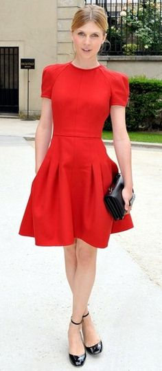 Clémence Poésy in Valentino at Paris FW, 2013 - love this look, would add a great necklace