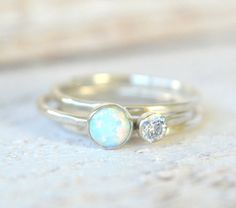 Opal Ring. Set of THREE Stacking Rings White Opal by MetalVine