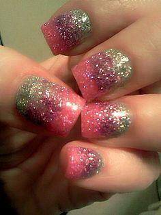 pink + purple + silver glitter nails