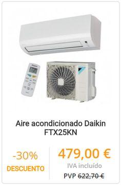 AIRE ACONDICIONADO DAIKIN FTX25KN  Aire acondicionado Daikin TX25KN con potencia en frío de 2.150 kcal. y en calor de 2.410 kcal. Tecnología Repacement. Mando a distancia por infrarrojos. Funcionamiento en modo ventilador y temporizador de 24 horas.