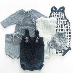 Ministrikk love. #greys || Slik en gjennomført palett hos @heidipe. Sjekk Heidis ermeløse versjon av Winter Playsuit og den nydelig strikkede babyshortsen som kan brukes alene, eller sammen med Hentesettgenseren. #inspirerende Patterns: Ministrikk.no