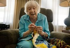 101 and still hooking blankets for Project Linus  Will this be me in thrity years ?