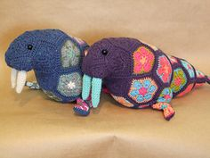 Crochet Flowers Design Ravelry: Wally the African Flower Walrus pattern by LineandLoops - African Flower Crochet Animals, Crochet Puff Flower, Crochet Birds, Crochet Flower Patterns, Crochet Bear, Crochet Toys Patterns, Crochet Flowers, Crochet Baby Toys, Crochet Dolls