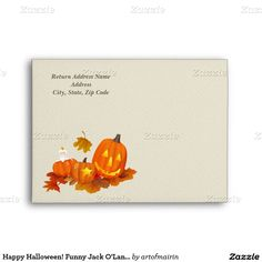 Happy Halloween. Funny Jack O'Lantern design Customizable Halloween Envelopes. Matching cards, postage stamps, Halloween Party Invitations and other products available in the Holidays / Halloween Category of the artofmairin store at zazzle.com
